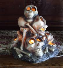 Vintage Halloween Ghost Blow Mold by Gemmy Halloween Blow Mold Lighted Skull Pile Of Bones Skeleton