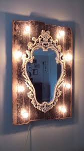 Vintage Style MDF Wood Frame Vanity Mirror With A Black Distressed Finish And Globe Lights Marqueemarket On Etsy