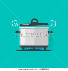 Pan With Steam On Gas Stove Fire Cooking Some Boiling Food Illustration Isolated Flat Cartoon