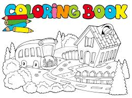 Download Coloring Book With School And Bus Stock Photos