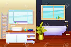 badezimmer innen design zusammensetzung mit heizkörper spiegel fenster waschbecken und verschiedene wasch sachen illustration