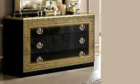 kommode schlafzimmer wäschekommode schwarz gold hochglanz