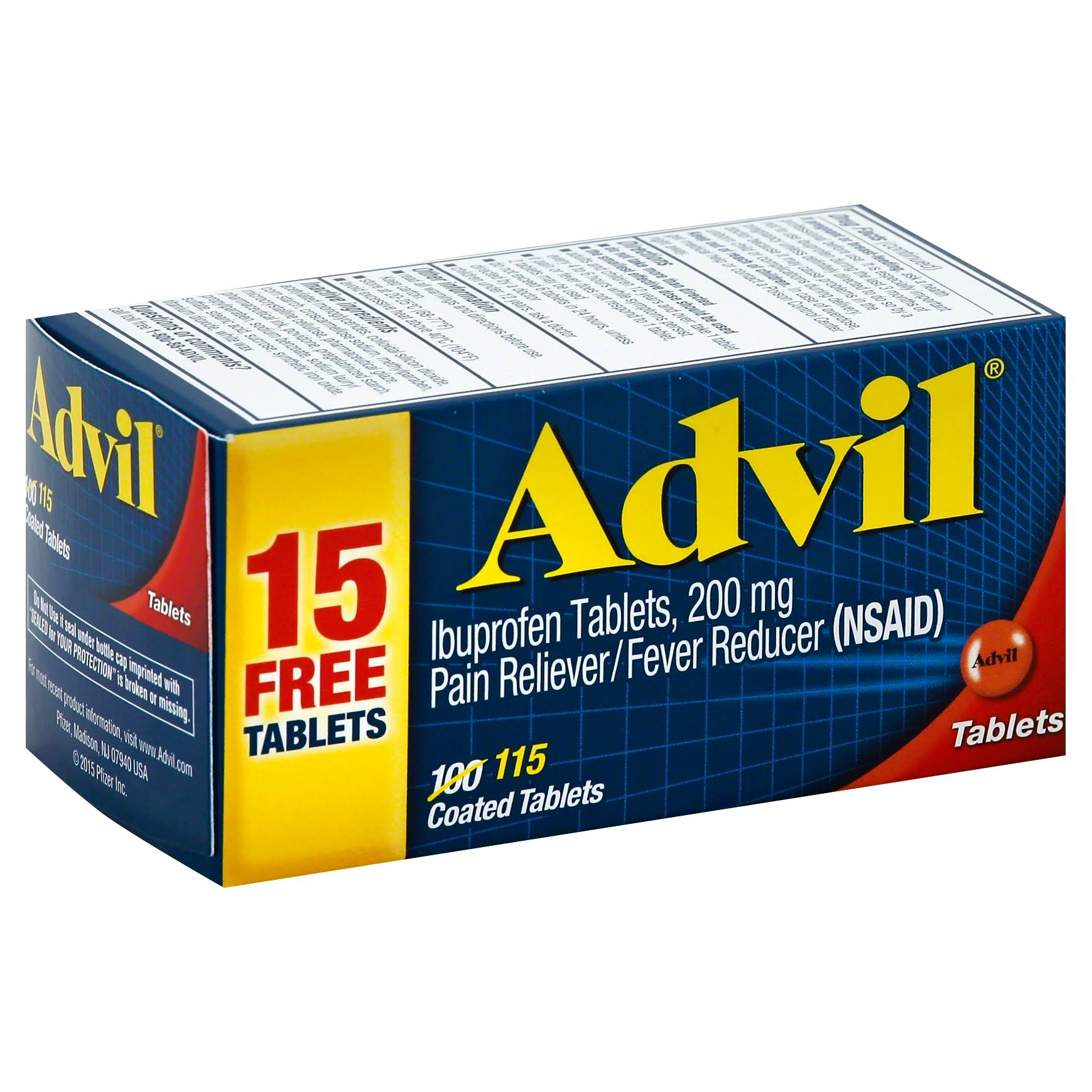 Advil Ibuprofen Coated Tablets - 200 mg, 115 Pack
