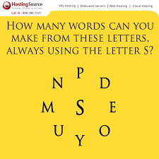 How many words can you make from these letters always using letter