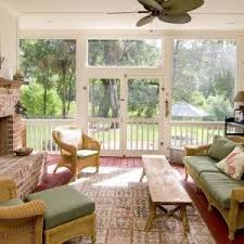 Wicker Sunroom Furniture With Bench And Side Chairs Ottoman Fireplace Stylish