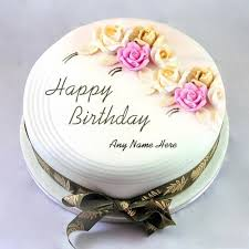 write name birthday cake with roses