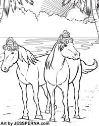 Horse On Beach Coloring Book Page