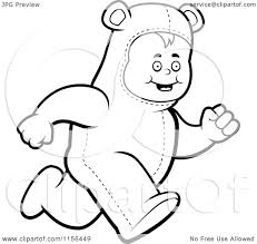 Cartoon Clipart Of A Black And White Kid Running In Bear Costume