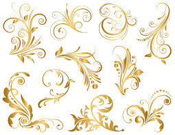 GOLD Digital Flourish Swirl Clip Art Swirls