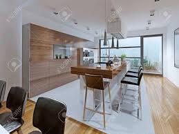küche high tech stil küche mit theke auf der insel eingebettet die hellen und geräumigen innenraum für diejenigen die neu alles was gefällt 3d