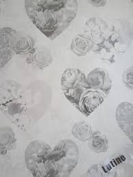 Novelty Shabby Chic Silver Grey Floral Hearts Love Feature Wallpaper FD41914