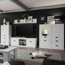 wohnzimmer wohnwand in pinie weiß 380 cm breit 4 teilig