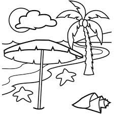 A Lovely Beach On Tropical Island Coloring Page