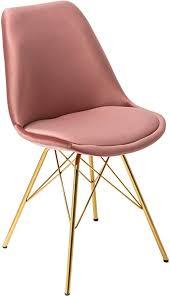 invicta interior design stuhl scandinavia samt altrosa goldene beine esszimmerstuhl konferenzstuhl