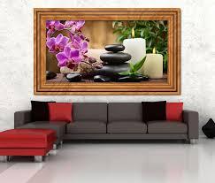 3d wandtattoo wellness steine orchidee kerzen bild selbstklebend wandbild sticker wohnzimmer wand aufkleber 11h1647