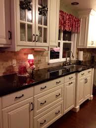 Off White Cabinets Brazilian Marron Cohiba Granite Counter Tops Dark Wood Floor My