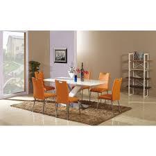 esstisch set bambari a26 inkl 6 stühle orange 180 x 100 l x b