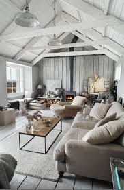 Vaulted Ceiling Decorating Ideas With Rustic Living Room Style Wood Plank Wall Decor And Industrial Pendant Light Burning Fireplace Bay