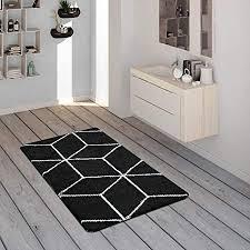 paco home badematte mit rauten muster kurzflor teppich für badezimmer in schwarz weiß grösse 60x100 cm