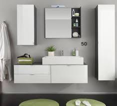 badezimmer hängeschrank mit spiegel innenseitig hochglanz weiß grau 35 x 83 cm