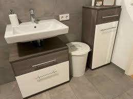 badmöbel waschbecken unterschrank weiß braun santorin mömax