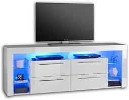 goal tv lowboard in hochglanz weiß mit blauer led beleuchtung hochwertiges tv board mit viel stauraum für ihr wohnzimmer 179 x 67 x 44 cm b h t