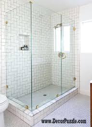 shower tile ideas shower wall tile gray blue subway bathroom