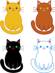 Set of Four Cute Cats Free Clip Art