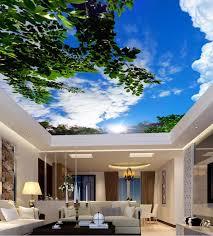 kundenspezifische fototapeten weiße wolken grüne blätter decke wandmalereien tapete wohnzimmer vlies tapete 3d decke hause improvemen