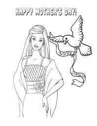 Barbie And Mothers Day Dove Coloring Page