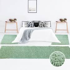 bettumrandung shaggy hochflor teppich einfarbig pastell grün modern für das schlafzimmer 2x 70x140cm 1x 70x250 myshop24