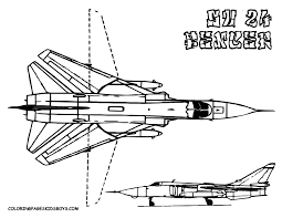 Printable Coloring Book Military Airplane Fighter Jets