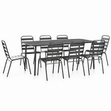 Amazon.com: BLUECC Dining Table Set Steel Dark Gray Slatted ...