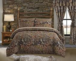 Regal Comfort The Woods Natural Green Camouflage Queen 4 Piece Premium Luxury Comforter Bed Skirt