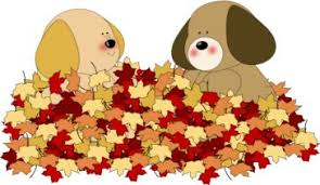 Dog and cat fall leaves clipart