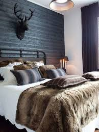 Masculine Bedroom Decor With Faux Fur Pillows And Throw Blanket Brown Gray Wool