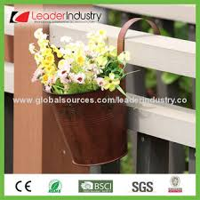 China Rustic Metal Hanging Flower Pots For Fence And Garden Decoration Made Of Powder Coated