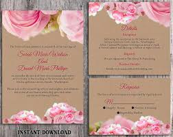 DIY Rustic Wedding Invitation Template Set Editable Word File Download Printable Pink Boho Peonies
