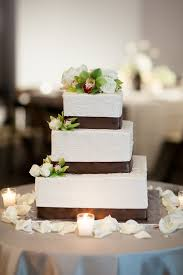 Square Wedding Cake With Brown Satin Ribbon