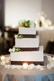 Square Wedding Cake With Brown Satin Ribbon