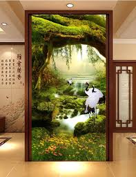3d Room Wallpaper Custom Mural Non Woven Picture Cranes Illusion Fairyland Porch Paintings Photo Wall Murals In Wallpapers From Home
