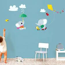 sticker mural chambre bébé sticker mural lapin faon et arbre motif enfant fille pour sticker
