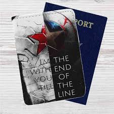 Bucky And Captain America Quotes Custom Leather Passport Wallet