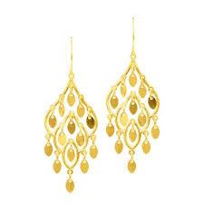 14k Yellow Gold Fancy Chandelier Dangle Earring