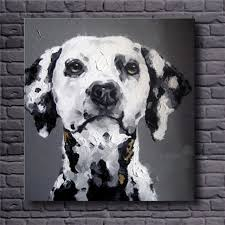 Hand Painted Wall Art Black White Abstract Oil Paintings Dog Decorative Pictures Modern Animal Canvas
