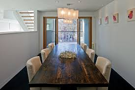 Diy Dining Table Ideas Room Contemporary With Dark Floor Sliding Glass Doors Centerpiece