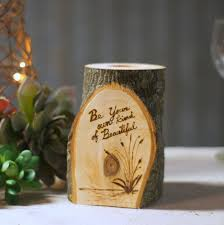 Burned Log Candle Holder Rustic Home Decor Reclaimed Wood Tealight Gifts For