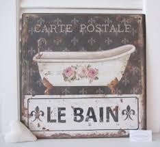 blech bild schild le bain badewanne badezimmer shabby nostalgie vintage antik