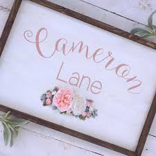 Rustic Nursery Boho Baby Name flowers floral personalized wood