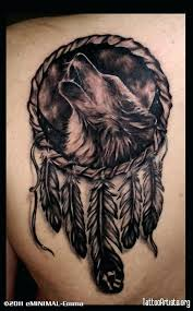 Wolf Dreamcatcher Tattoo Designs On Males With Media